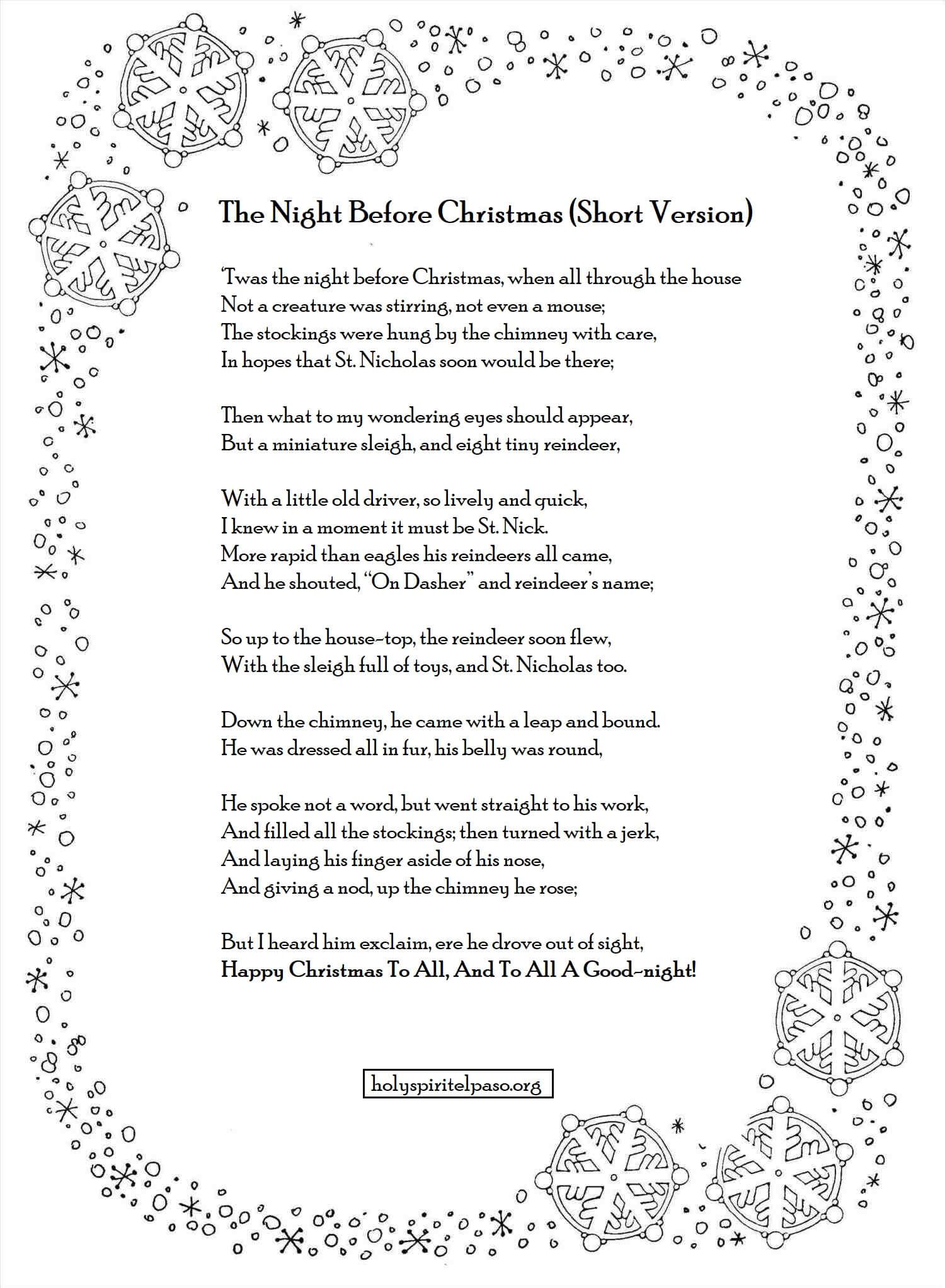 Twas The Night Before Christmas Poem Pdf Printable