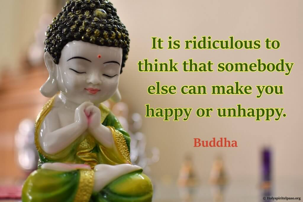 Buddha Quotes On Love And Happiness With HD Little Buddha Statue Image