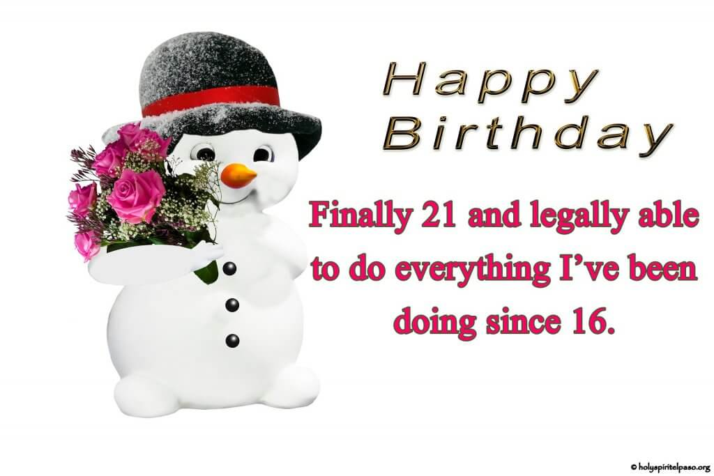 Cute Snowmen With Happy 21st Birthday Picture