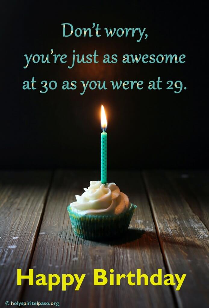 Happy 30th Birthday Wishes With Yummy Cupcake With Candle