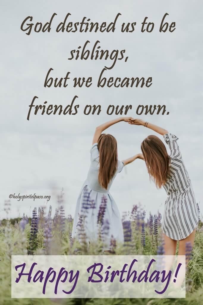 Spiritual Birthday Message for Sister