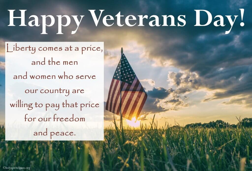 Happy Veterans Day Message With U.S.A Flag
